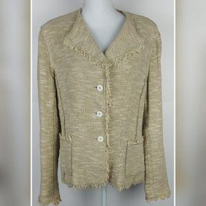 Rickie Freeman Teri Jon tweed tan jacket size 14